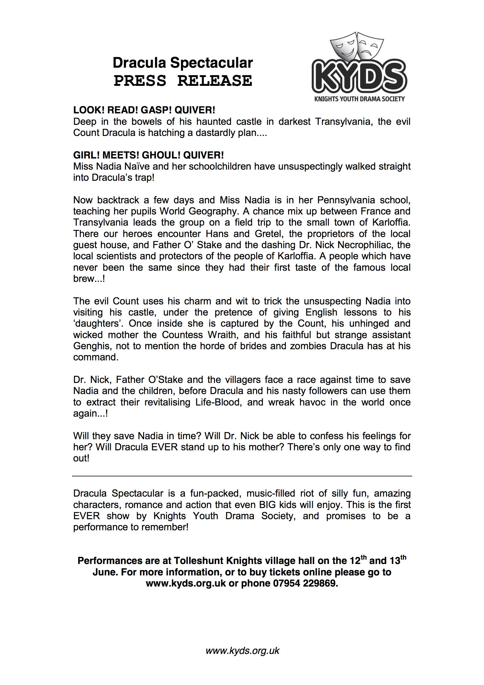 Dracula Spectacular | KYDS Youth Drama Society