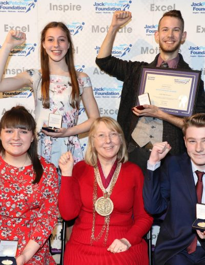 Millie, Dannii, Ellie, The Mayor of Colchester and Olly, each with their awards